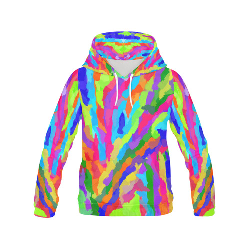 Neon Magic Marker Art All Over Print Hoodie for Women (USA Size) (Model H13)