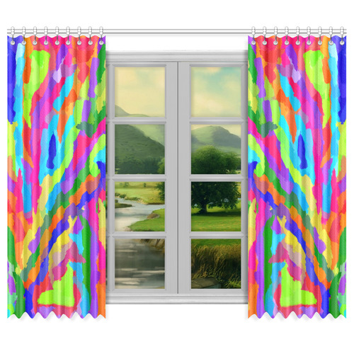 "Neon Magic Marker Art Window Curtain 50""x84""(Two Piece)"