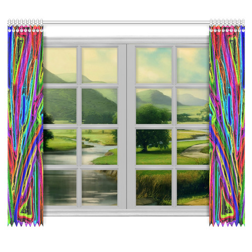 "Neon Black Magic Art - 9941 Window Curtain 50""x84""(Two Piece)"
