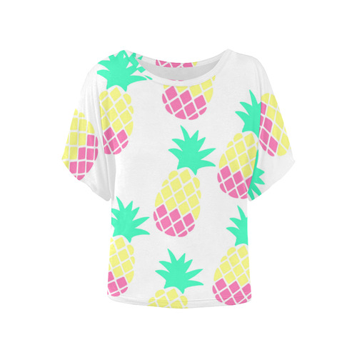 25ca09554a2f1 Pretty Pineapple Batwinged Top Women s Batwing-Sleeved Blouse T shirt  (Model T44)