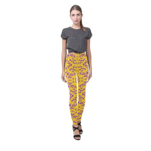 Gold and Purple Astral Art Cassandra Women's Leggings (Model L01)