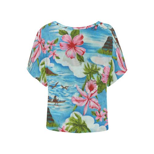 Hawaiian Scenes Women's Batwing-Sleeved Blouse T shirt (Model T44)