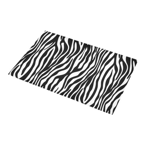 Zebra Stripes Pattern - Traditional Black White Bath Rug 16''x 28''
