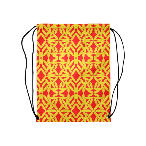 "Red Floating Diamonds Medium Drawstring Bag Model 1604 (Twin Sides) 13.8""(W) * 18.1""(H)"