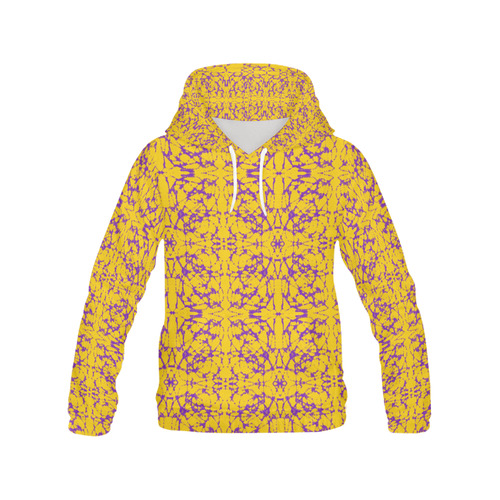 Gold and Purple Astral Art All Over Print Hoodie for Women (USA Size) (Model H13)