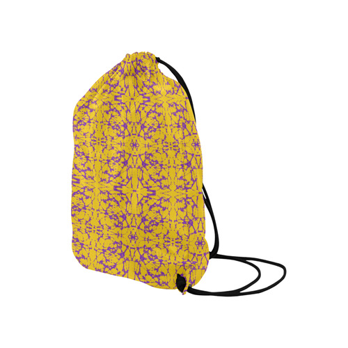 "Gold and Purple Astral Art Medium Drawstring Bag Model 1604 (Twin Sides) 13.8""(W) * 18.1""(H)"