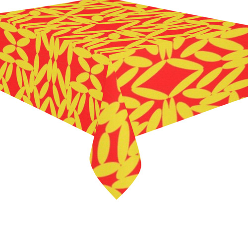 "Red Floating Diamonds Cotton Linen Tablecloth 60""x 84"""