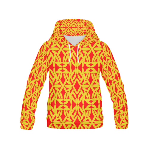 Red Floating Diamonds All Over Print Hoodie for Women (USA Size) (Model H13)