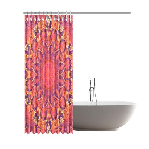 Abstract Peach Cream Orange Star Quilt Shower Curtain