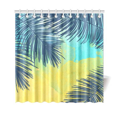 Palm Trees Tropical Watercolor Shower Curtain 69x70