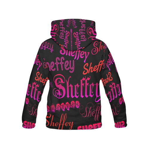 Sheffey Fonts - Pink and red 9704 All Over Print Hoodie for Women (USA Size) (Model H13)