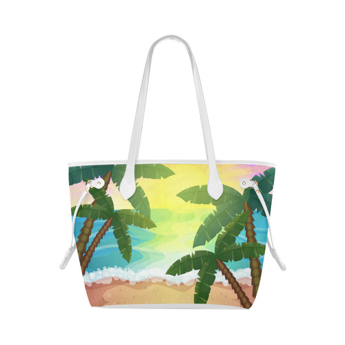 Tropical Sunset Palm Trees Beach Clover Canvas Tote Bag (Model 1661)