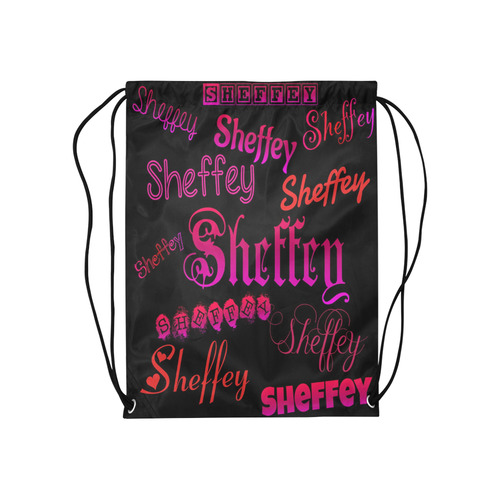 "Sheffey Fonts - Pink and Red 9704 Medium Drawstring Bag Model 1604 (Twin Sides) 13.8""(W) * 18.1""(H)"