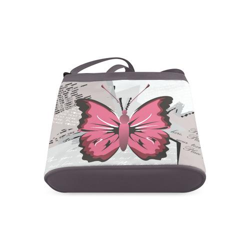 Grunge Style Butterfly - Pink Butterfly Crossbody Bags (Model 1613)