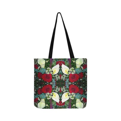 Calla Lilies Roses Daisies Liatris Bouquet Reusable Shopping Bag Model 1660 (Two sides)