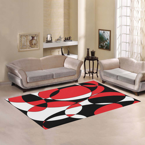 Black, White and Red Ellipticals Area Rug7'x5'