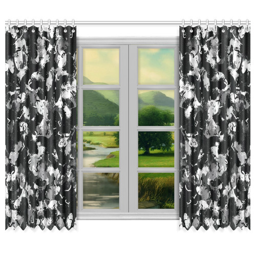 "Shades of Gray  and Black Oils #1979 Window Curtain 50""x84""(Two Piece)"