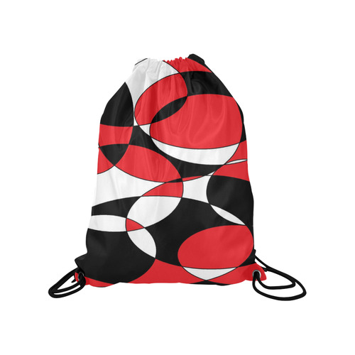 "Black, White and Red Ellipticals Medium Drawstring Bag Model 1604 (Twin Sides) 13.8""(W) * 18.1""(H)"