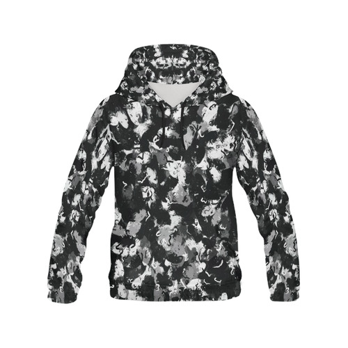 Shades of Gray  and Black Oils #1979 All Over Print Hoodie for Women (USA Size) (Model H13)
