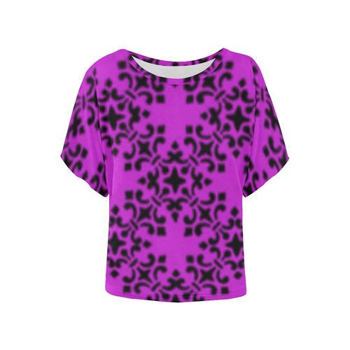 Dazzling Violet Damask Women's Batwing-Sleeved Blouse T shirt (Model T44)