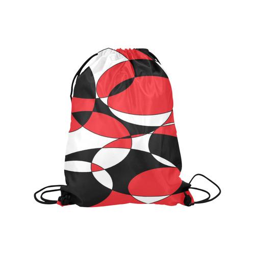 "Black, White and Red Ellipticals Medium Drawstring Bag Model 1604 (Twin Sides) 13.8""(W) * 18.1""(H)"
