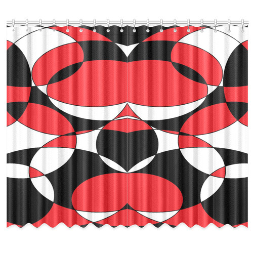 "Black, White and Red Ellipticals Window Curtain 50""x84""(Two Piece)"