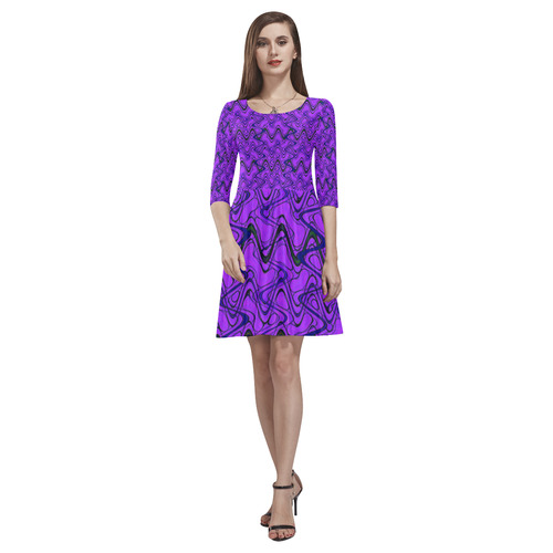 2d2ae73ead Purple and Black Waves Tethys Half-Sleeve Skater Dress(Model D20 ...