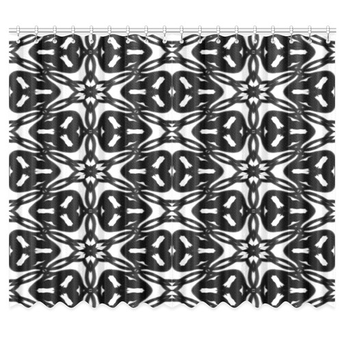 "Black and White Star Flakes 9867 Window Curtain 50""x84""(Two Piece)"