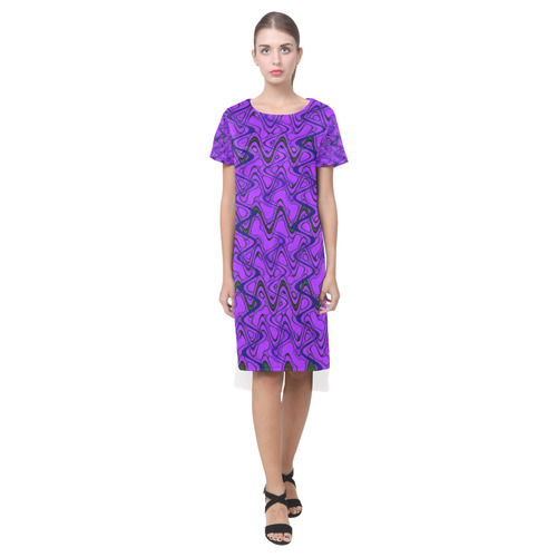 73a84f80e1 Purple and Black Waves Short Sleeves Casual Dress(Model D14)