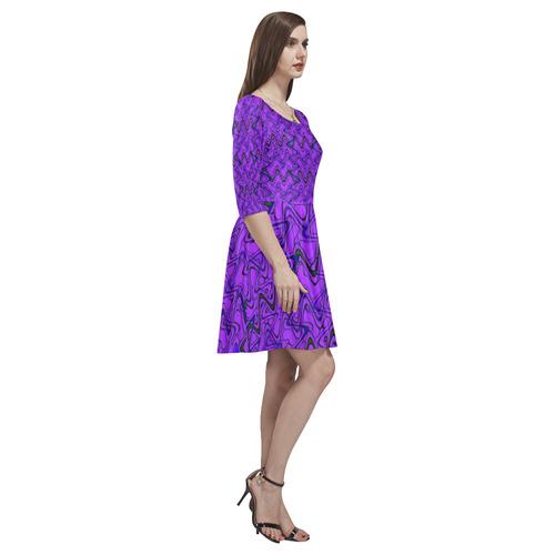 a54003ed06 ... Purple and Black Waves Tethys Half-Sleeve Skater Dress(Model D20) ...