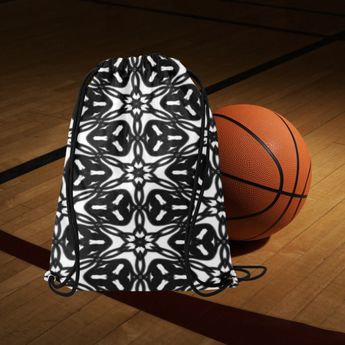 "Black and White Star Flakes 9867 Medium Drawstring Bag Model 1604 (Twin Sides) 13.8""(W) * 18.1""(H)"