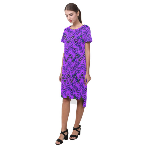 1536e06393 ... Purple and Black Waves Short Sleeves Casual Dress(Model D14) ...