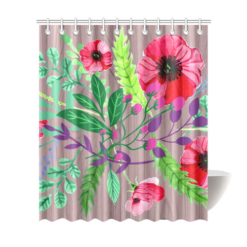Rustic Watercolor Floral Red Poppies Shower Curtain 72x84
