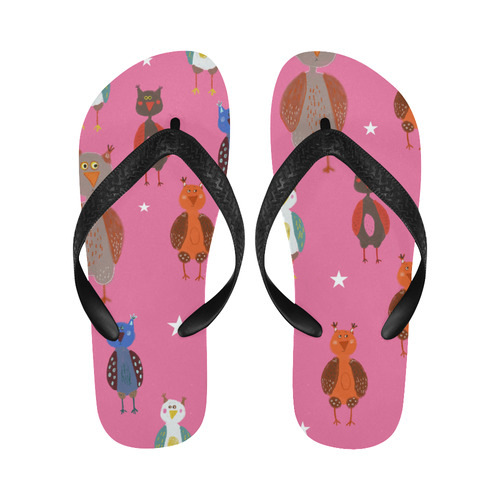 34890a84f8fad cute owl bird animal pattern pink kids children illustration Flip Flops for  Men/Women (Model 040)