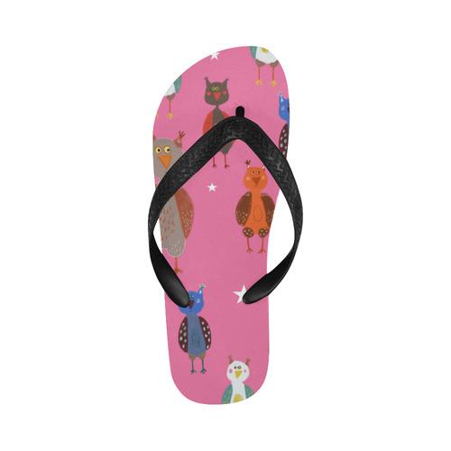 cute owl bird animal pattern pink kids children illustration Flip Flops for Men/Women (Model 040)