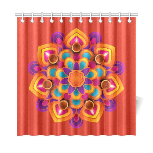 Red Orange Purple Mandala Shower Curtain 72x72