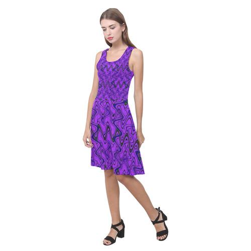 Purple and Black Waves Atalanta Casual Sundress(Model D04)