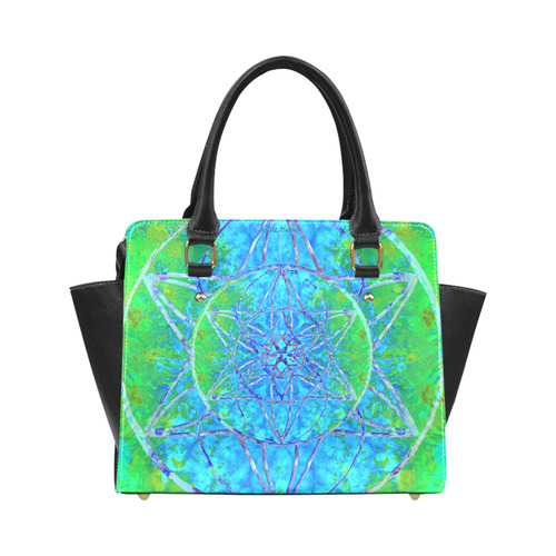 protection in nature colors-teal, blue and green Classic Shoulder Handbag (Model 1653)