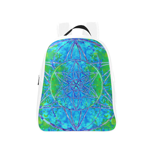 protection in nature colors-teal, blue and green School Backpack (Model 1601)(Medium)