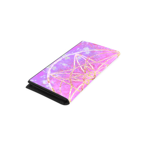 protection in purple colors Women's Leather Wallet (Model 1611)