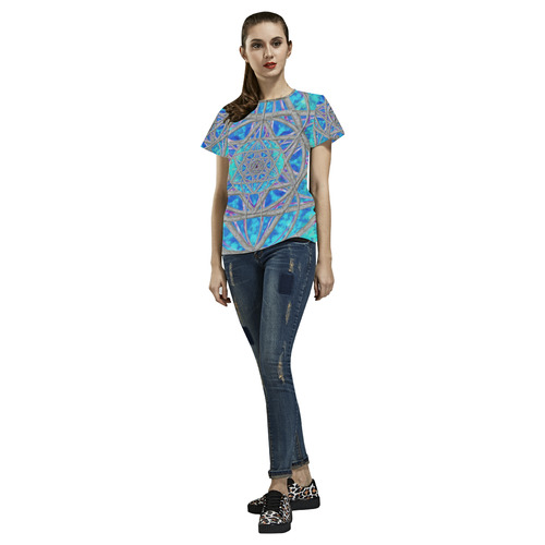 protection in blue harmony All Over Print T-Shirt for Women (USA Size) (Model T40)