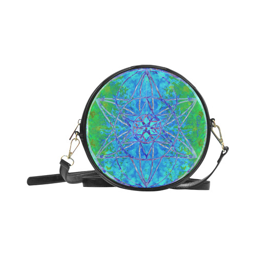 protection in nature colors-teal, blue and green Round Sling Bag (Model 1647)