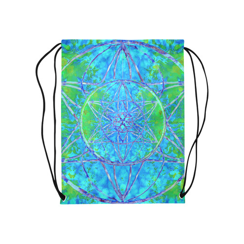 """protection in nature colors-teal, blue and green Medium Drawstring Bag Model 1604 (Twin Sides) 13.8""""(W) * 18.1""""(H)"""