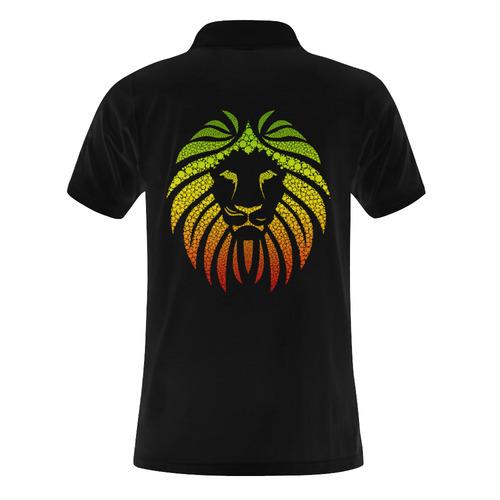 Rastafari Lion Dots green yellow red Men's Polo Shirt (Model T24)