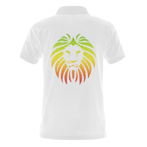 Rastafari Lion Dots green yellow red Men's Polo Shirt (Model T24)