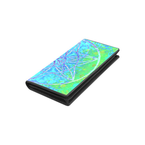protection in nature colors-teal, blue and green Women's Leather Wallet (Model 1611)