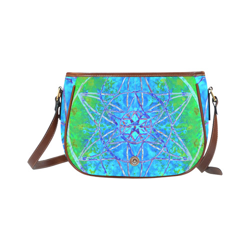 protection in nature colors-teal, blue and green Saddle Bag/Large (Model 1649)