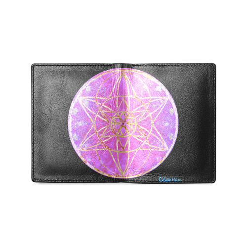 protection in purple colors Men's Leather Wallet (Model 1612)