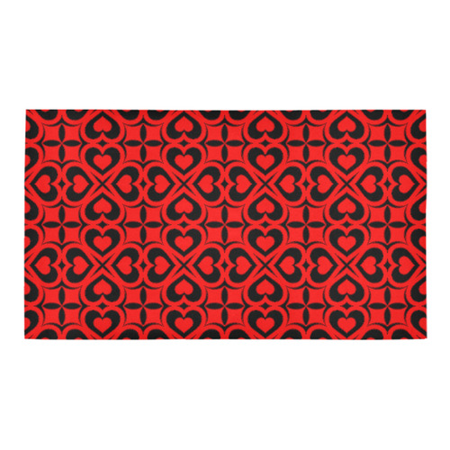 Red Black Heart Lattice Bath Rug 16''x 28''