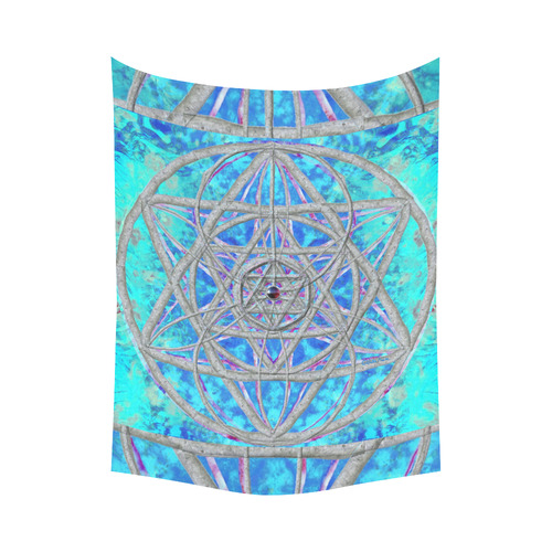 """protection in blue harmony Cotton Linen Wall Tapestry 60""""x 80"""""""